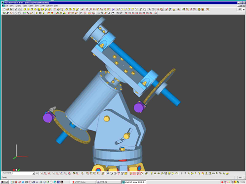 Telescope mount being modelled in VariCAD, still unfinished alas...